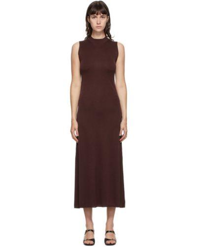 Шелковое бордовое платье макси с воротником без рукавов Studio Nicholson