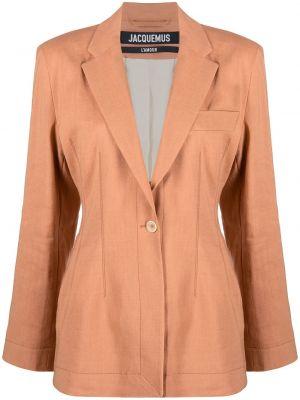 Шерстяной коричневый удлиненный пиджак с карманами Jacquemus