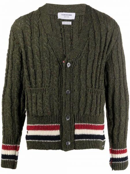 Zielony sweter z dekoltem w serek Thom Browne