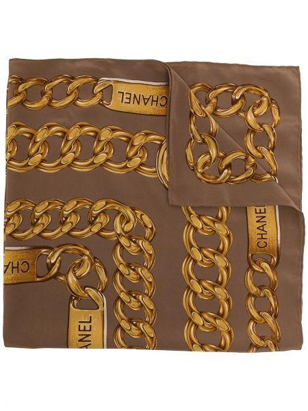 Złoty żółty szalik z printem Chanel Pre-owned