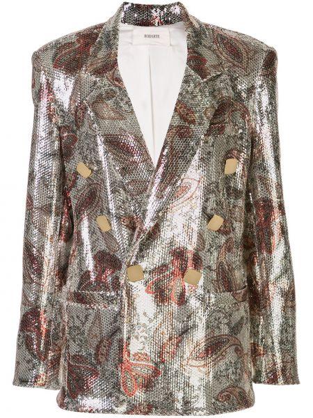 Классическая серебряная куртка двубортная с карманами Rodarte