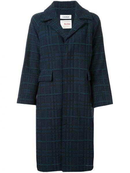 Синее длинное пальто с капюшоном твидовое Coohem