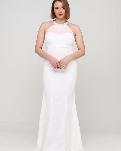 Облегающее белое платье макси с камнями Goddiva