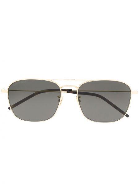 Солнцезащитные очки хаки Saint Laurent Eyewear