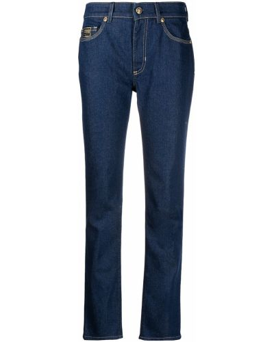 Прямые синие джинсы на молнии Versace Jeans Couture