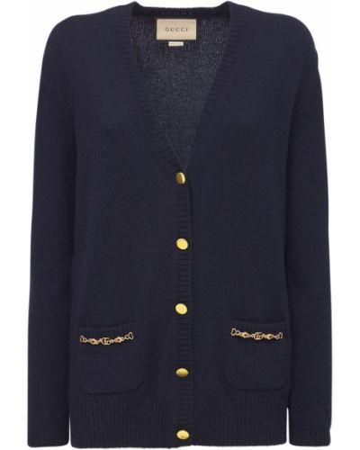 Кашемировый кардиган - синий Gucci
