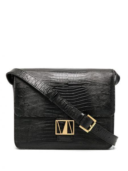 Черная сумка на плечо металлическая на молнии с карманами Manu Atelier