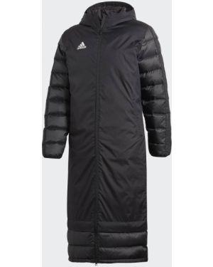 Футбольная приталенная спортивная черная зимняя куртка Adidas
