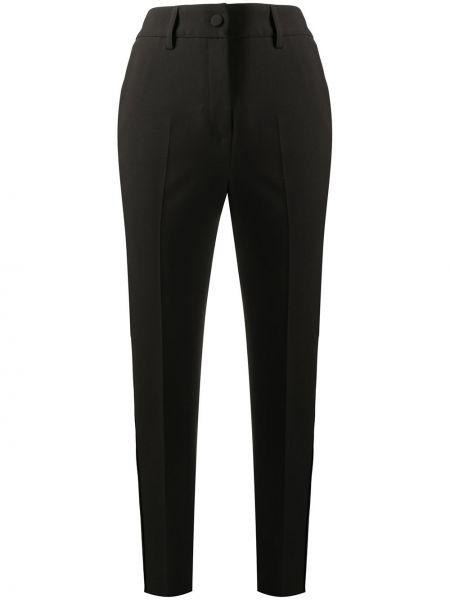Черные деловые укороченные брюки на пуговицах Blumarine
