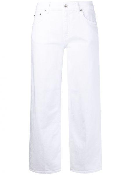 Свободные белые укороченные джинсы на молнии Dondup