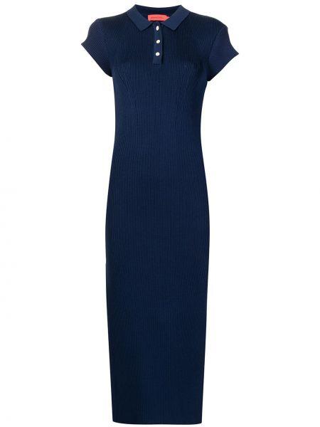 Платье миди с короткими рукавами - синее Manning Cartell