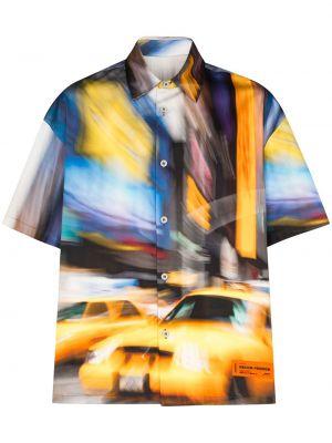 Pomarańczowa koszula bawełniana z printem Heron Preston