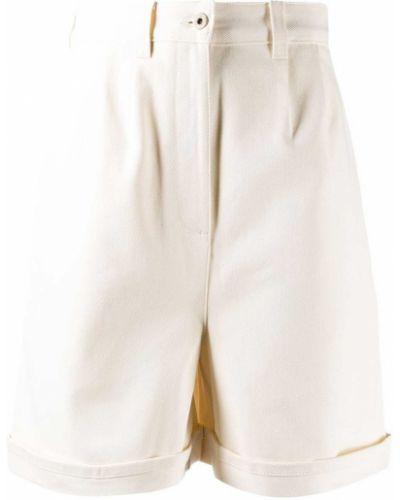 Белые кожаные шорты с отворотом Loewe
