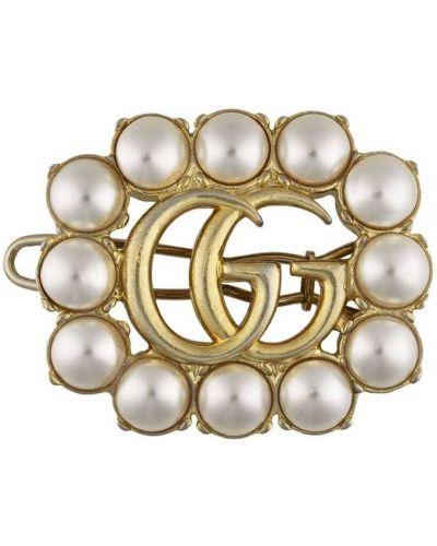 Золотистая заколка с жемчугом металлическая Gucci