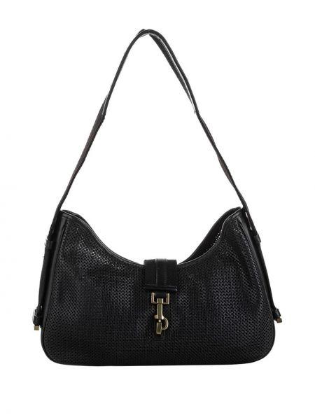 Золотистая кожаная черная сумка на плечо с перфорацией Gucci Pre-owned