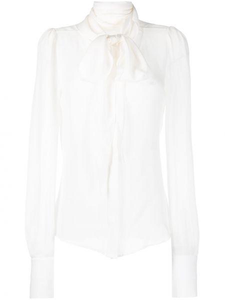 Biała bluzka z długimi rękawami z jedwabiu Barbara Bui
