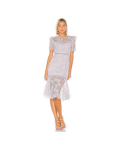 Платье миди с вышивкой на пуговицах Saylor