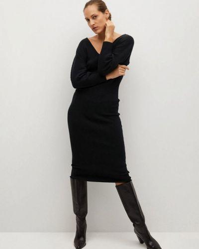 Трикотажное вязаное черное платье Mango