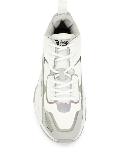 Кожаные белые кроссовки на шнуровке Aape By A Bathing Ape