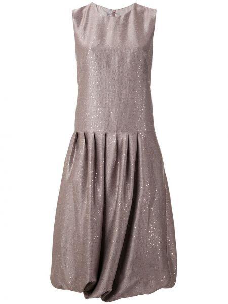 Розовое платье миди с пайетками без рукавов с вырезом Paskal