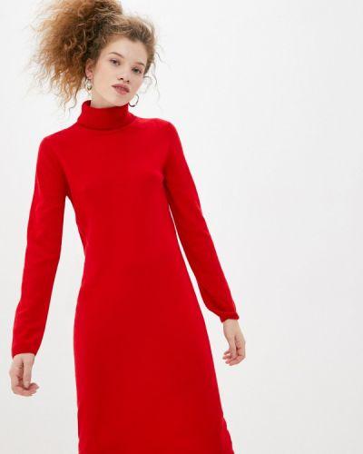 Трикотажное красное вязаное платье United Colors Of Benetton