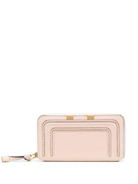 Skórzany portfel skórzany złoto z kieszeniami z gniazdem Chloe