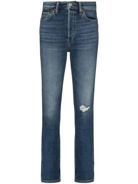 Прямые хлопковые синие прямые джинсы Re/done