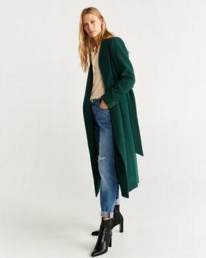 Пальто зеленое шерстяное Mango