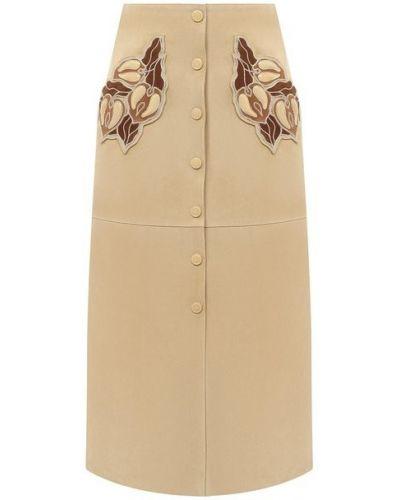 Кожаная юбка - бежевая Chloé