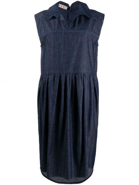 Синее платье миди без рукавов с воротником Marni