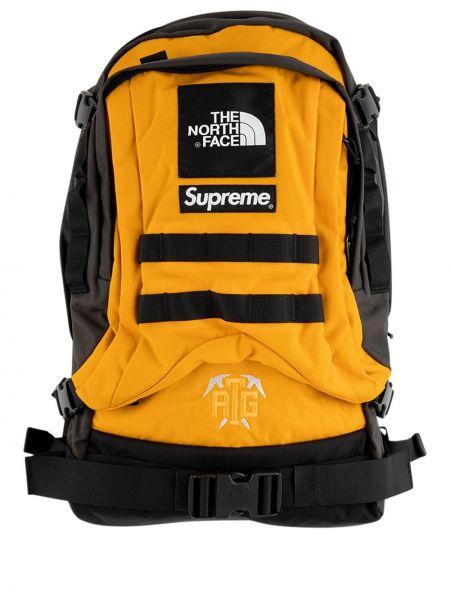 Złoty czarny plecak z haftem Supreme