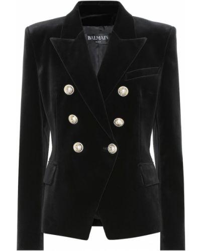 Пиджак черный бархатный Balmain