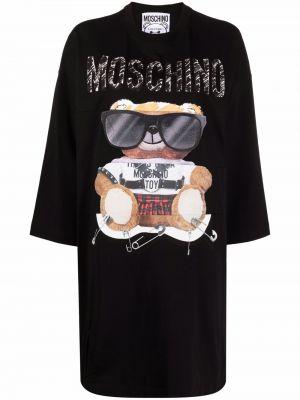 Черное хлопковое платье Moschino