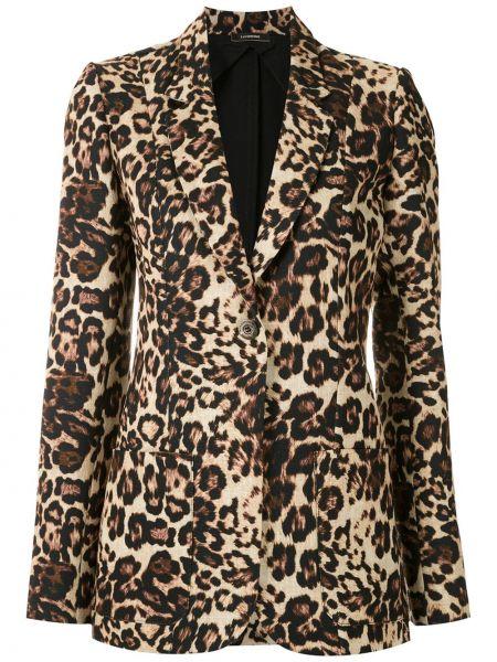 Коричневый удлиненный пиджак с запахом на пуговицах À La Garçonne