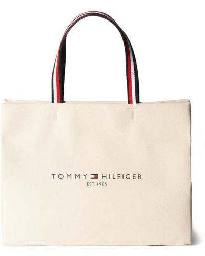 Beżowa torba na ramię bawełniana z paskiem Tommy Hilfiger
