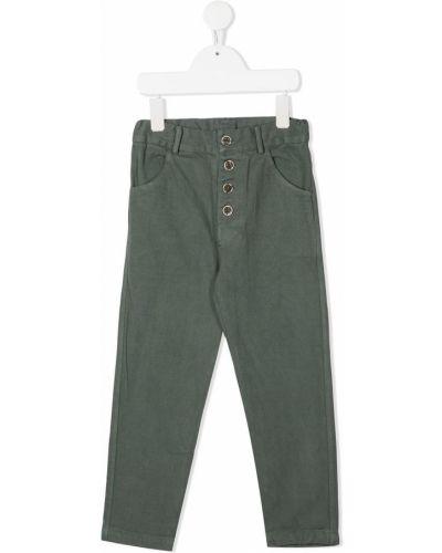 Брючные темно-серые брюки с заплатками с поясом Buho
