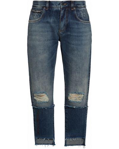 Рваные джинсы с заплатками с бахромой Dolce&gabbana