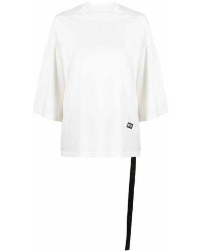 Prążkowany biały t-shirt bawełniany Rick Owens