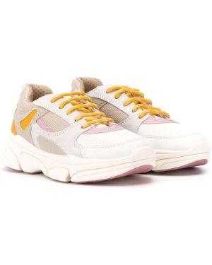 Skórzane sneakersy różowy białe Geox Kids