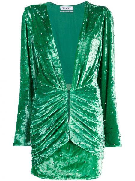 Zielona sukienka mini z wiskozy z dekoltem w serek Attico