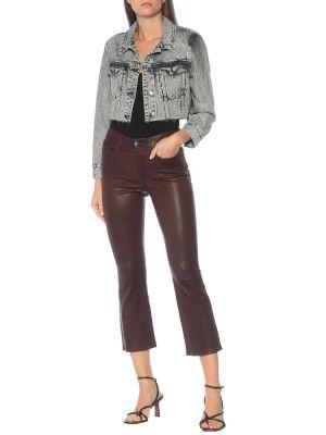 Кожаные коричневые укороченные брюки Frame