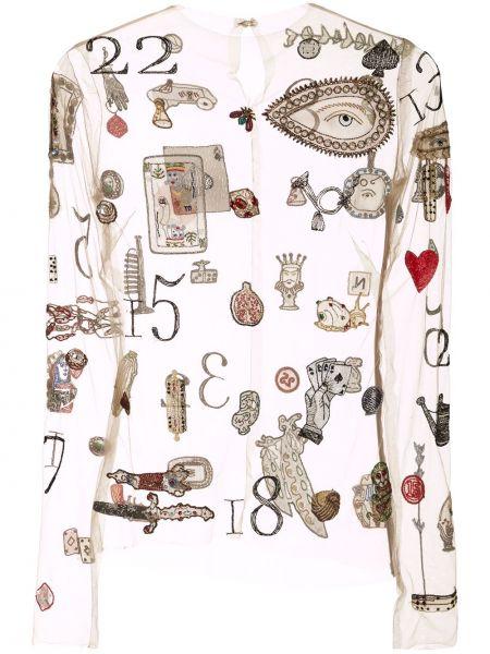 Прямая блузка с длинным рукавом прозрачная с вышивкой с вырезом Monse