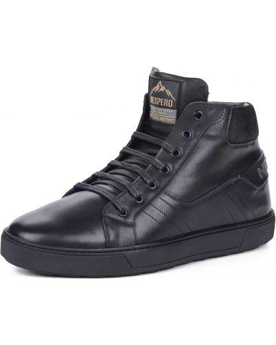 Кожаные черные высокие кеды на шнуровке Nexpero