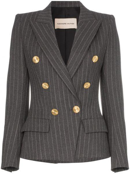 Серый пиджак двубортный с карманами Alexandre Vauthier