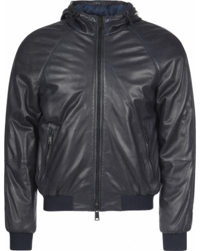 Кожаная куртка из полиэстера - черная Emporio Armani