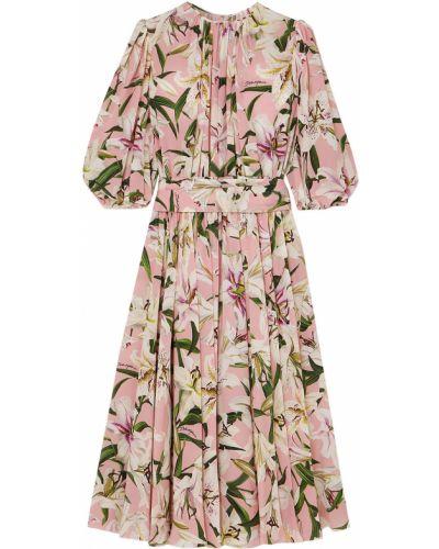 Шелковое розовое платье миди Dolce & Gabbana