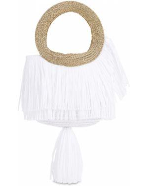 Biała torebka z frędzlami Mimisol