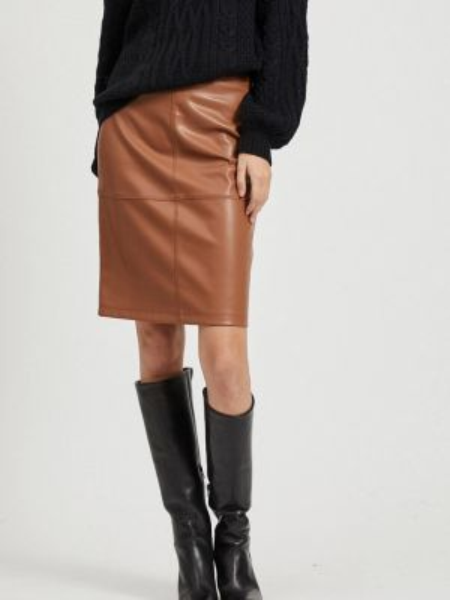 Кожаная юбка весенняя коричневый Vila