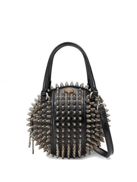 Черная сумка через плечо с заклепками с перьями металлическая Gucci