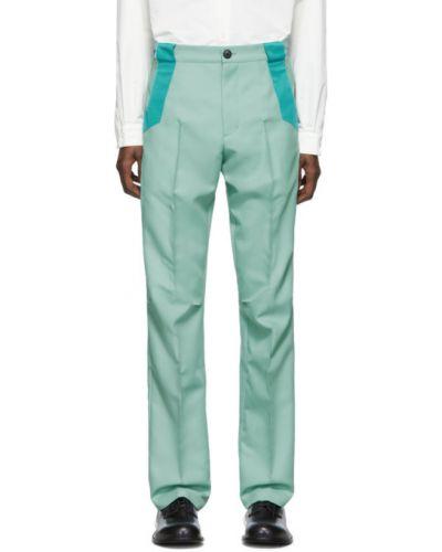 Zielone spodnie z paskiem srebrne Kiko Kostadinov